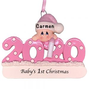 Pink 2020 Baby's First Christmas Personalized Ornament