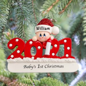 Baby's First Christmas 2021 Personalized Christmas Ornament 2021
