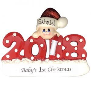 Baby's 1st Christmas 2018 - Red Personalized Ornament