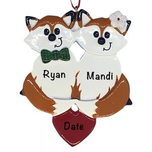 Fox Couple Personalized Christmas Ornament
