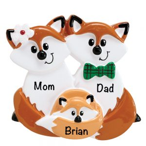 Fox Family of 3 Personalized Christmas Ornament