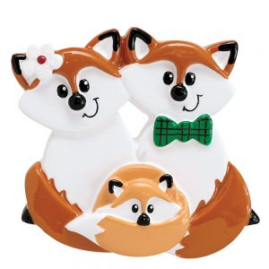Fox Family of 3 Personalized Christmas Ornament - Blank