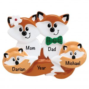 Fox Family of 4 Personalized Christmas Ornament