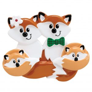 Fox Family of 4 Personalized Christmas Ornament - Blank