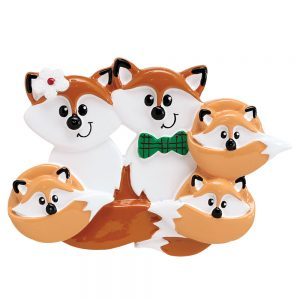 Fox Family of 5 Personalized Christmas Ornament - Blank
