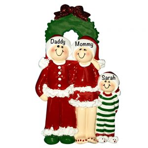 Christmas Pajama Family of 3 Personalized Christmas Ornament