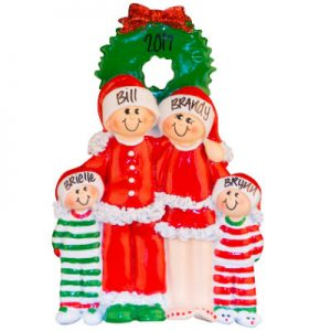 Christmas Pajama Family Of 4 Christmas Ornament
