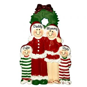 Christmas Pajama Family of 4 Personalized Christmas Ornament
