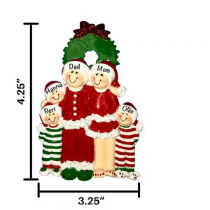 Christmas Pajama Family of 5 Personalized Christmas Ornament