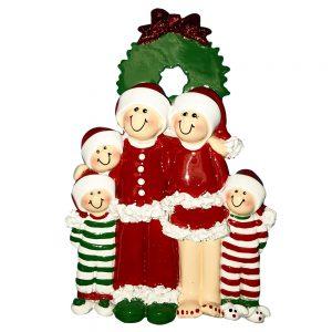 Christmas Pajama Family of 5 Personalized Christmas Ornament - Blank