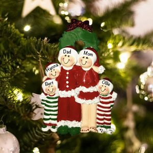 Personalized Pajama Family of 5 Christmas Ornament