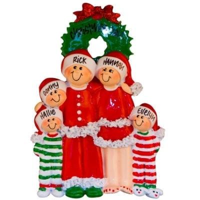 Christmas pajama family of 5 personalized christmas ornament for Family christmas ornaments to make