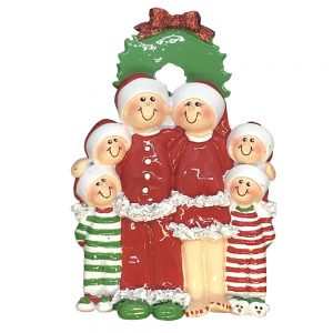 Christmas Pajama Family of 6 Personalized Christmas Ornament - Blank