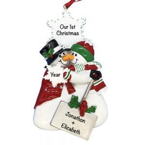 Eskimo Kisses Couple Personalized Christmas Ornament