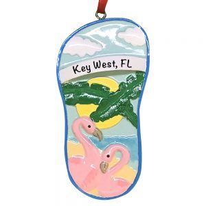 Flamingo Couple Sandal Personalized Christmas Ornament