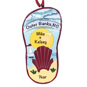 Beach Chair Sandal Sunset Personalized Christmas Ornament