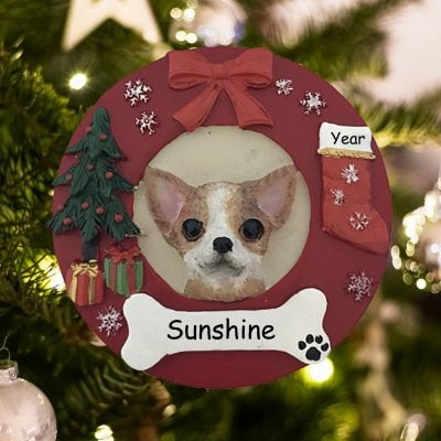 Personalized Chihuahua Tan Christmas Ornament
