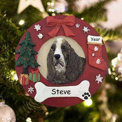 Personalized Basset Hound Christmas Ornament
