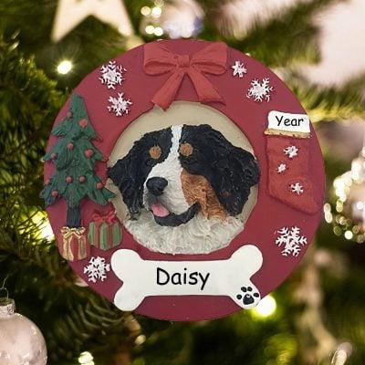 Personalized Bermese Mountain Dog Christmas Ornament