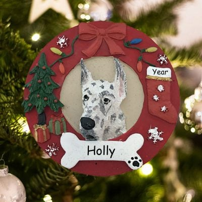 Personalized Harlequin Dane Christmas Ornament