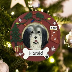 Personalized Bearded Collie Christmas Ornament