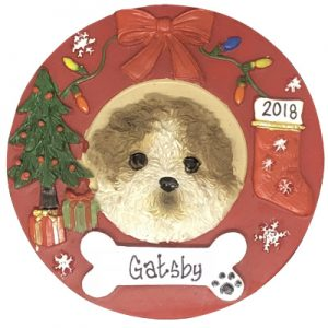 Shih Tzu - Tan & White Puppy Cut Personalized Ornament