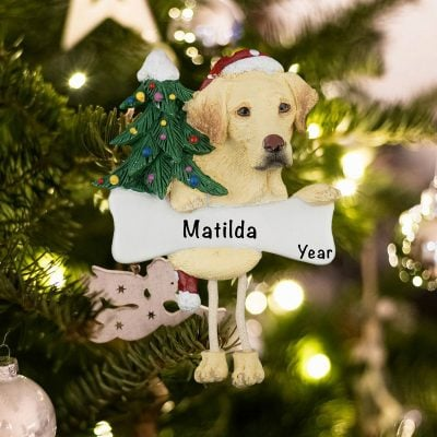 Personalized Yellow Labrador Christmas Ornament