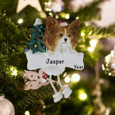 Personalized Papillion Christmas Ornament