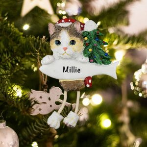 Personalized Calico Cat Christmas Ornament