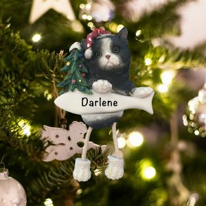 Personalized Black and White Cat Christmas Ornament