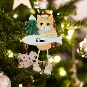 Personalized Tabby Cat Orange Christmas Ornament
