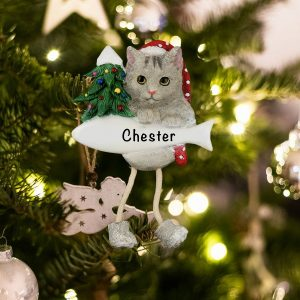 Personalized Silver Tabby Cat Christmas Ornament