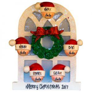 Christmas Window Family Of 5 Christmas Ornament