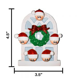 Christmas Window Family of 5 Personalized Christmas Ornament