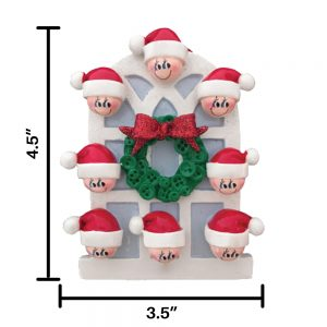 Christmas Window Family of 8 Personalized Christmas Ornament