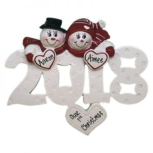2018 Snow Couple Personalized Ornament