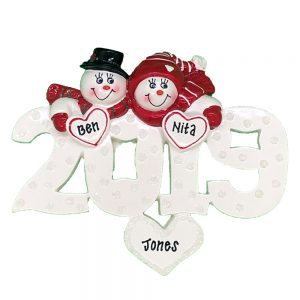 2019 Snow Couple Personalized Christmas Ornament