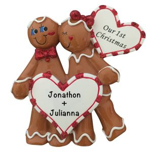 Gingerbread Heart Couple Personalized Christmas Ornament