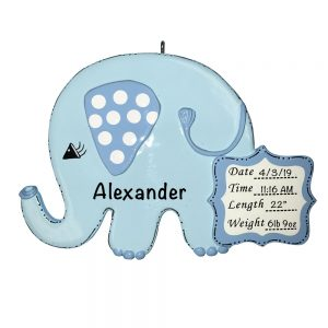 Blue Baby's 1st Christmas Elephant Personalized Christmas Ornament