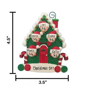 Candy Cane Family of 5 Personalized Christmas Ornament