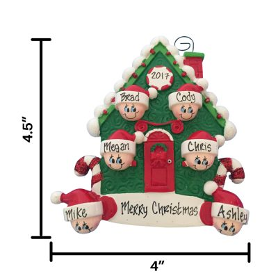 Candy Cane Family of 6 Personalized Christmas Ornament