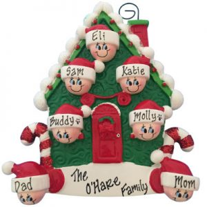 Candy Cane House Family of 7 Christmas Ornament