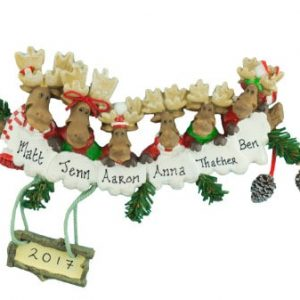 Moose Family Of 6 Christmas Ornament