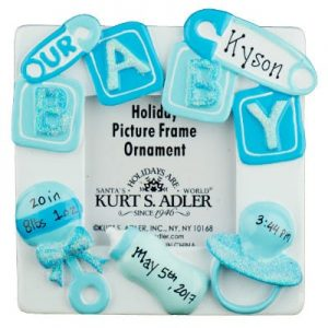 Our Baby Photo Frame Blue Christmas Ornament