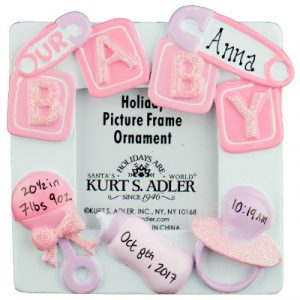 Our Baby Photo Frame Pink Christmas Ornament
