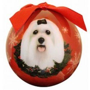 Maltese Christmas Ornament