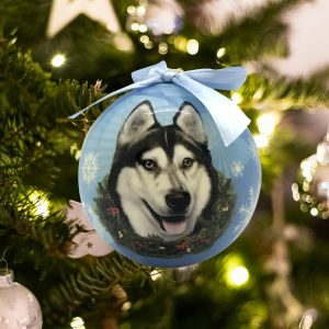 Personalized Siberian Husky Christmas Ornament