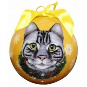 Tabby Cat (Silver) Christmas Ornament