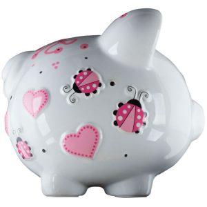 Pink Ladybug Piggy Bank Large - 2