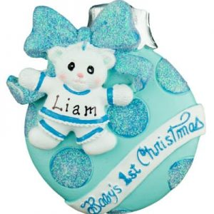 """Baby's 1st Christmas"" Blue Christmas Ball Christmas Ornament"
